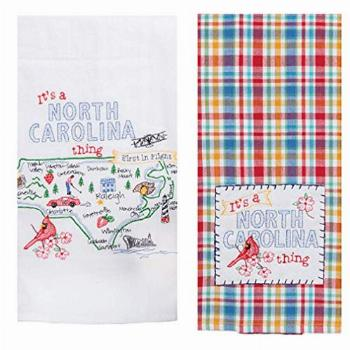 2 Piece Kay Dee Home State of North Carolina Embroidered