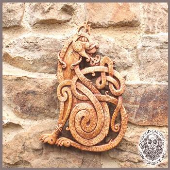 Celtic Cat Wood Carving Design Wall Hanging Norse Symbol | Etsy