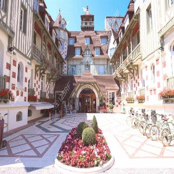 Famous five star hotel - Le Normandy hotel. A traditional architecture of the building. Deauville,