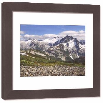 Framed Print-Mount Challenger and Whatcom Peak seen from Tapto Lake, North Cascades National Park-3