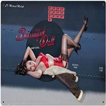 Lagoog Beautiful Doll Nose Art Pin-Up Metal Sign 8X12 Inches