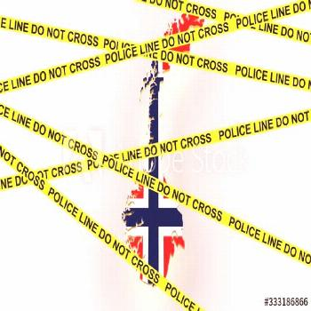 Norway crime concept, police investigation. 3D map of Norway. Map of Norway border with flag. 3d re