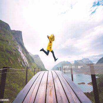 Norway Senja Island Man Jumping On An Observation Deck At The Coast Photography ,