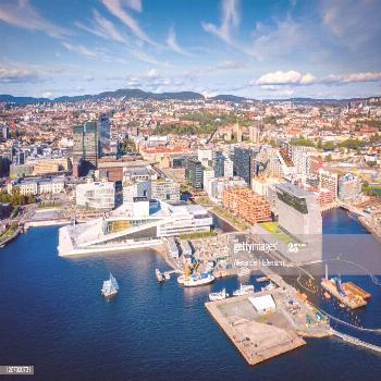 Oslo Norway Harbor Cityscape Drone Point Of View Photography ,