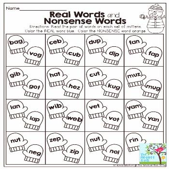 Real Words and Nonsense Words- Great practice for decoding words!  More FUN and engaging activities