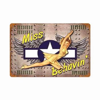 TYmall Miss Behavin', Aviation Pin Up Nose Art 12X16 Inches
