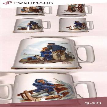 Vintage Norman Rockwell Collectable Mugs Set of four coffee mugs. Used with small imperfections as