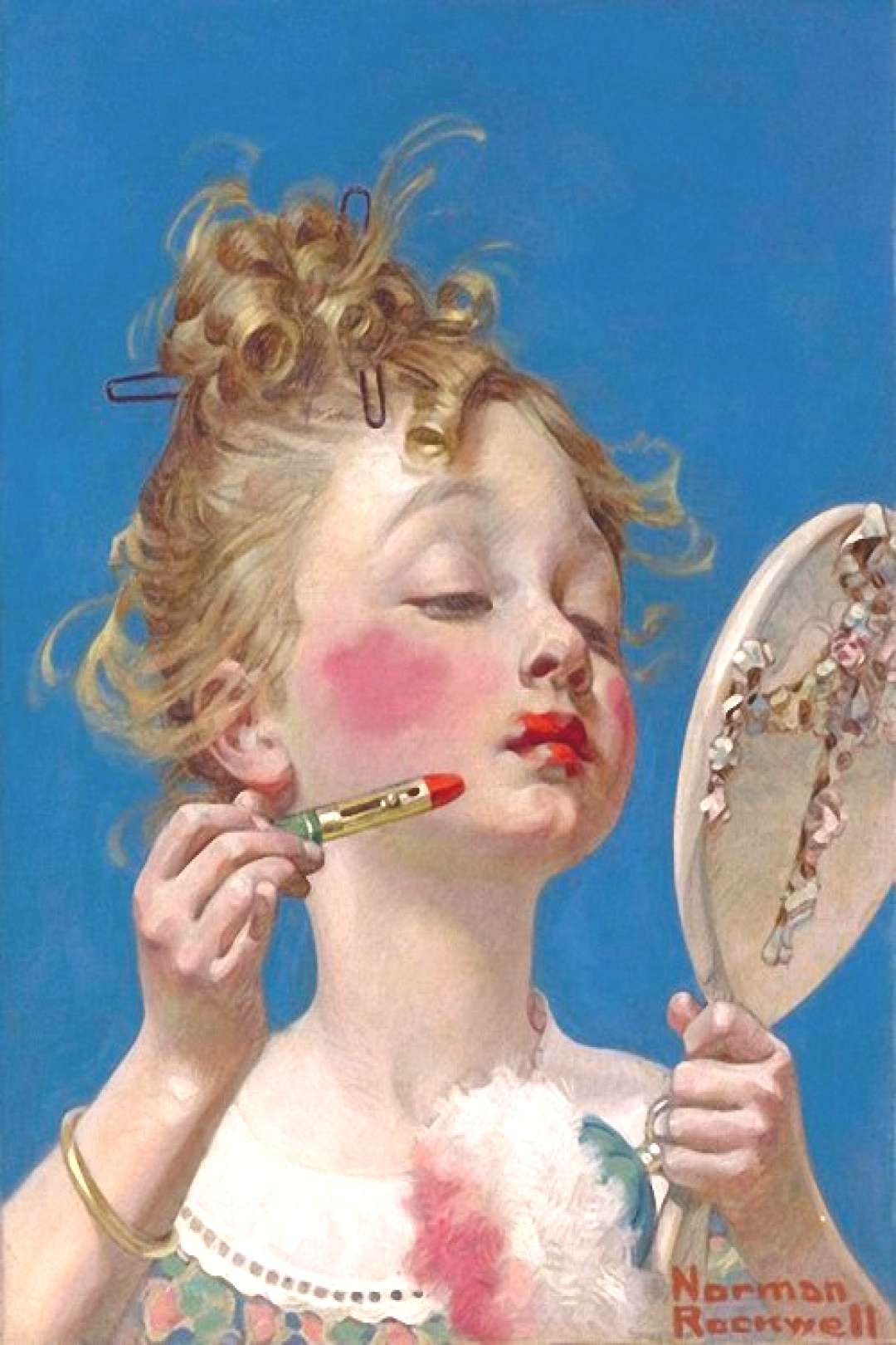 Art — Norman Rockwell Little Girl with Lipstick. 1922 г