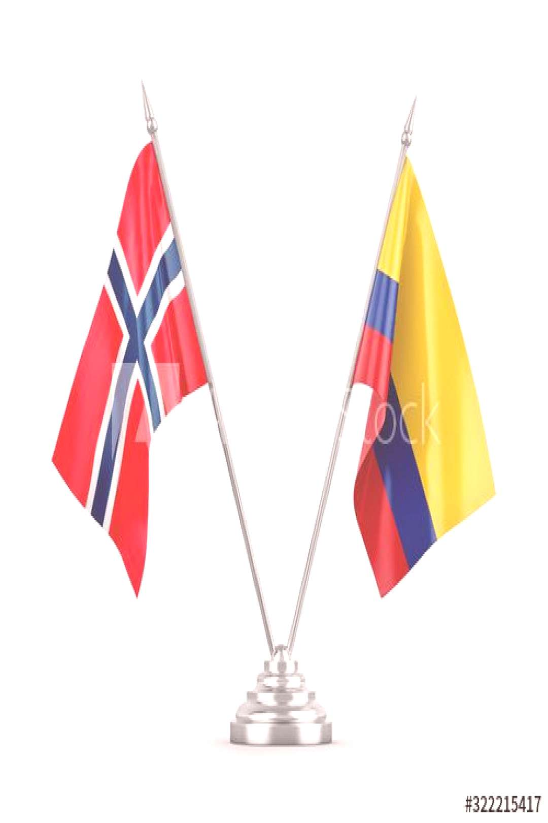 Colombia and Norway table flags isolated on white 3D rendering ,