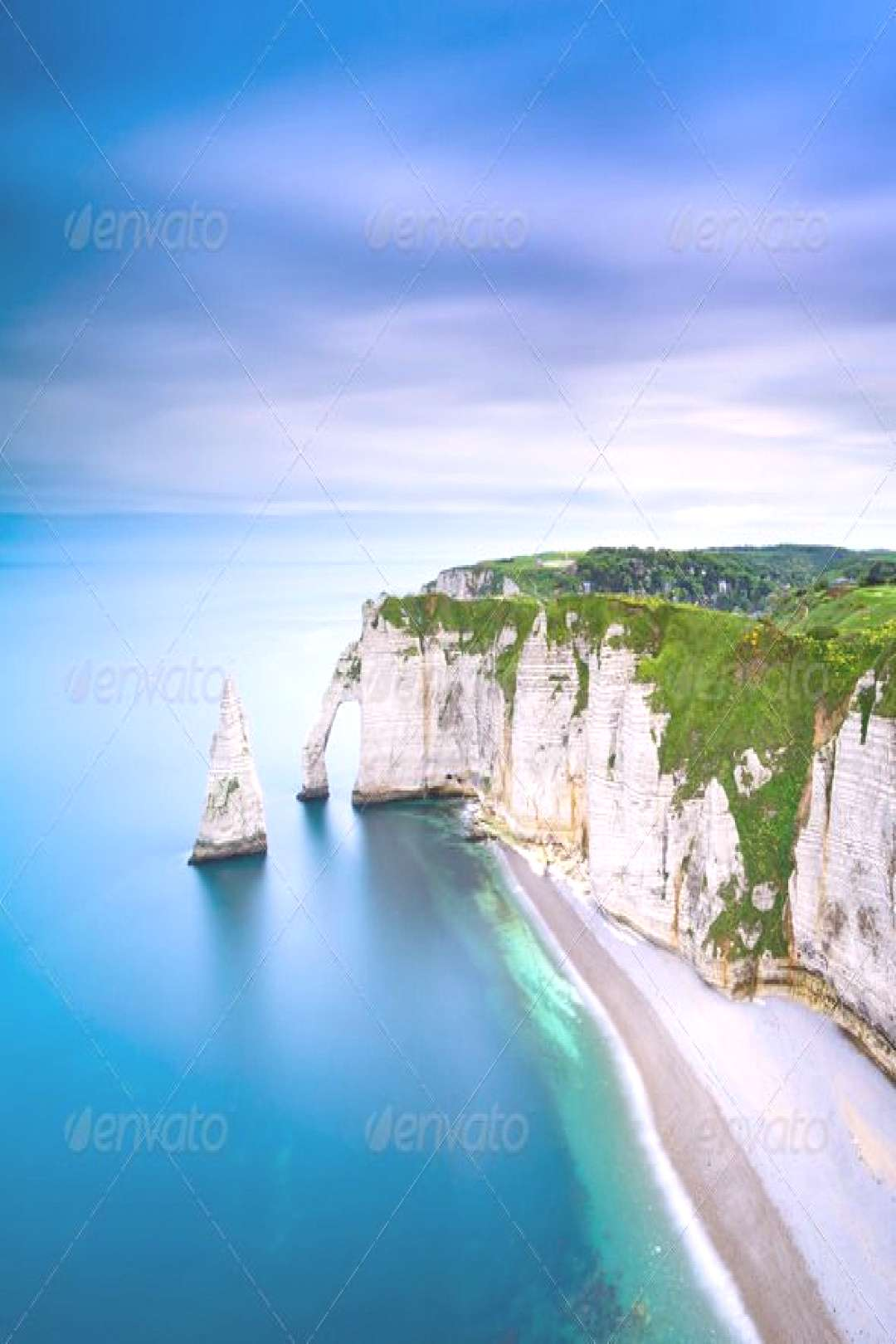 Etretat Aval cliff and rocks landmark and ocean . Normandy, France. by StevanZZ. Etretat Aval cliff