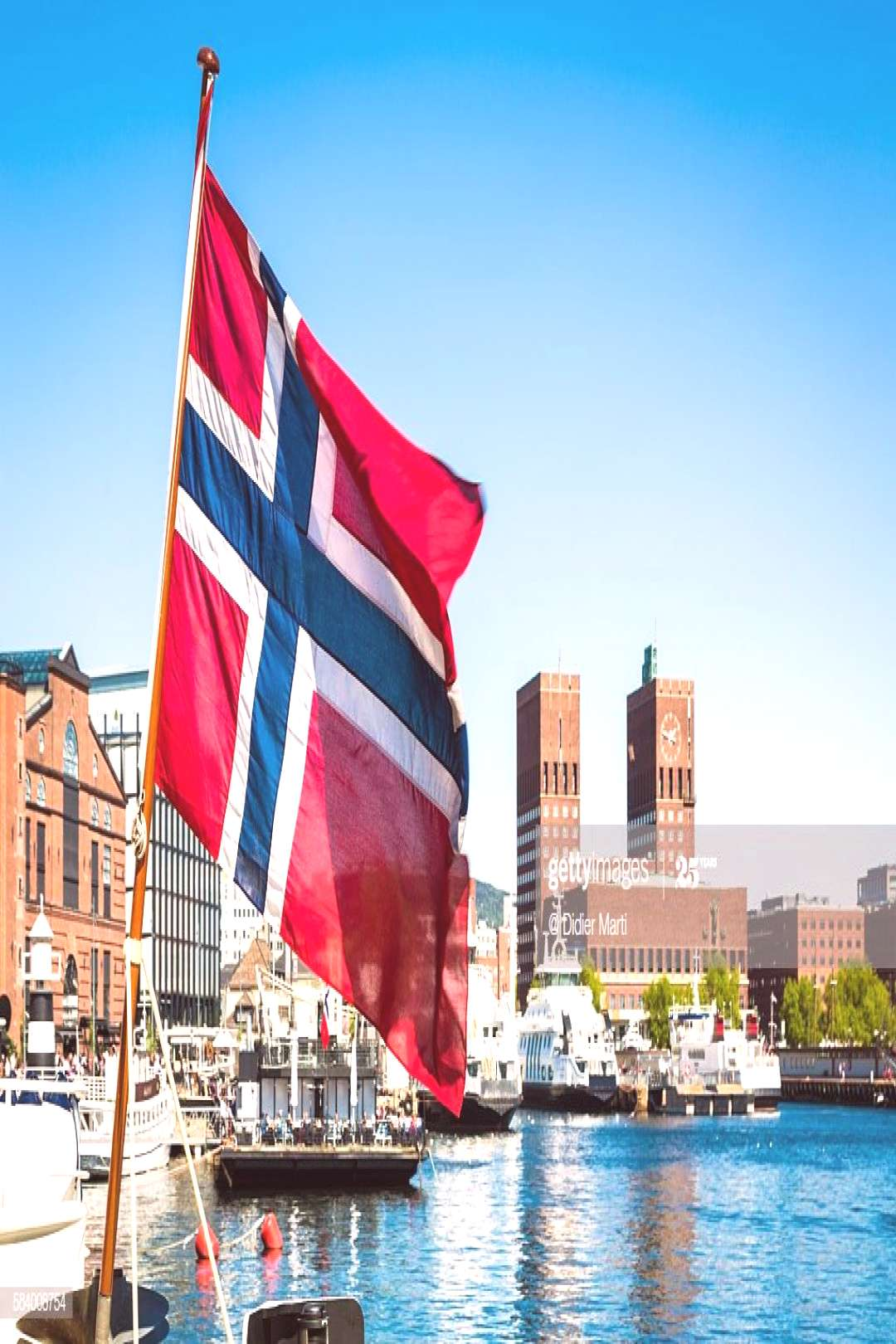 Norway Flag In Front Of Oslo City Hall And Marina Photography ,